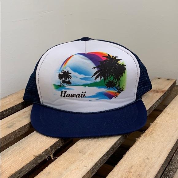 Vintage Accessories - Vintage Hawaii Navy Blue Foam Trucker Cap